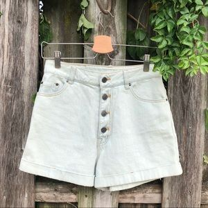 BDG light wash button fly jean shorts